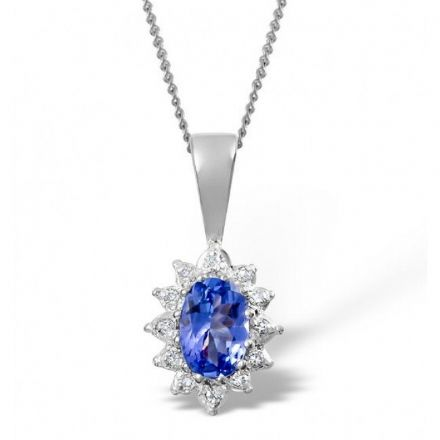 9K White Gold 0.04ct Diamond & 6mm x 4mm Tanzanite Pendant, Z1499